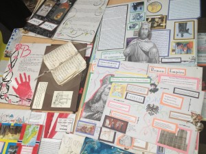 Some Bulldog Tech student projects, ready for presentation to prospective sixth grade parents. (Katrina Schwartz/KQED)
