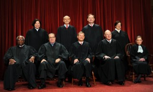 Front row (L-R): Associate Justice Clarence Thomas, Associate Justice Antonin Scalia, Chief Justice John G. Roberts, Associate Justice Anthony M. Kennedy and Associate Justice Ruth Bader Ginsburg. Back Row (L-R): Associate Justice Sonia Sotomayor, Associate Justice Stephen Breyer, Associate Justice Samuel Alito Jr. and Associate Justice Elena Kagan. (Tim Sloan/AFP/Getty Images)