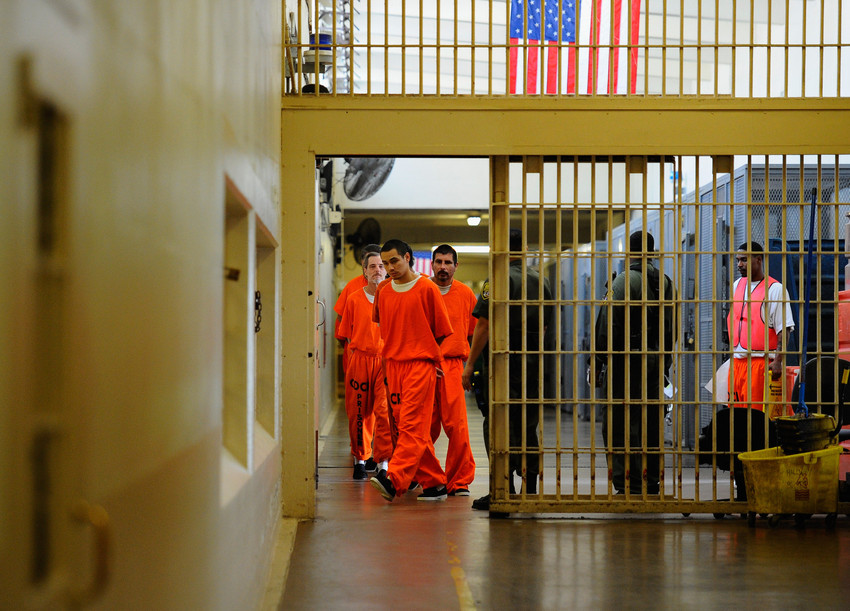 Inmates at Chino State Prison in California. (Kevork Djansezian/Getty Images)