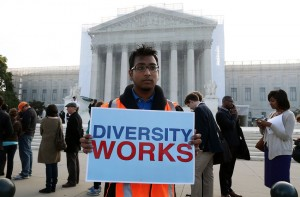 Travis Ballie holds a sign that reads (Diversity Works) in front of the U.S. Supreme Court on October 10, 2012 in Washington, DC. (Mark Wilson/Getty Images)