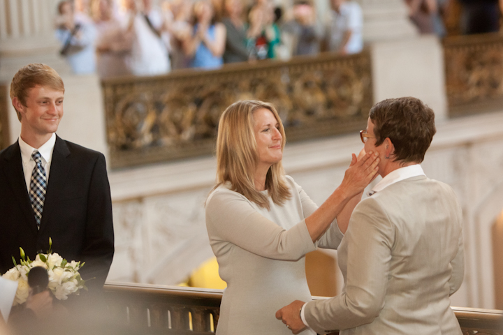 Sandra Stier (L) and Kris Perry were married by California.Attorney General Kamala Harris at San Francisco City Hall on July 28, 2013 -- the first same-sex marriage to take place in California since 2008.(KQED/Darlene Bouchard)