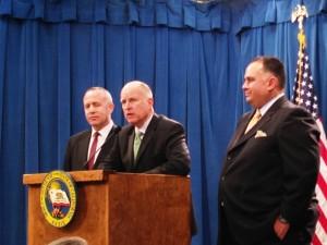 Gov. Jerry Brown, Senate President Pro Tem Darrell Steinberg and Assembly Speaker John Perez discuss the 2013 budget. (Scott Detrow / KQED)