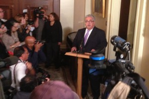 State Senator Ron Calderon makes a statement about an FBI raid on his office. (Scott Detrow / KQED)