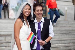 Jenni Chang and Lisa Dazols, from San Francisco, outside City Hall.