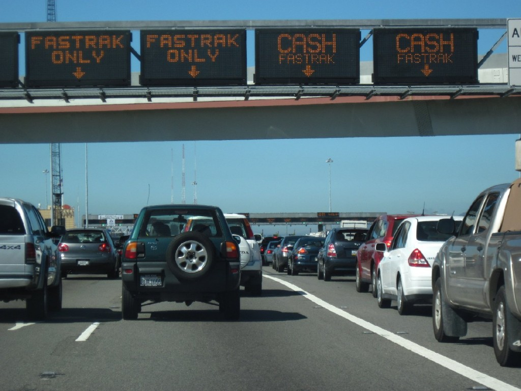 Cars line up at the Bay Bridge toll plaza.Craig Miller/KQED