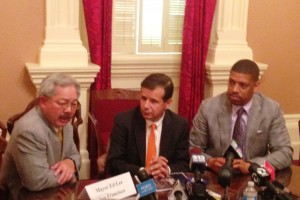 San Francisco Mayor Ed Lee, Santa Ana Mayor Miguel Pulido and Sacramento Mayor Kevin Johnson discuss California's 2013 budget. (Scott Detrow / KQED)