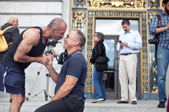 Crispin Hollings proposes marriage to Luis Casillas after the Supreme Court's Prop. 8 ruling on June 26. (Photo: Deborah Svoboda/KQED)