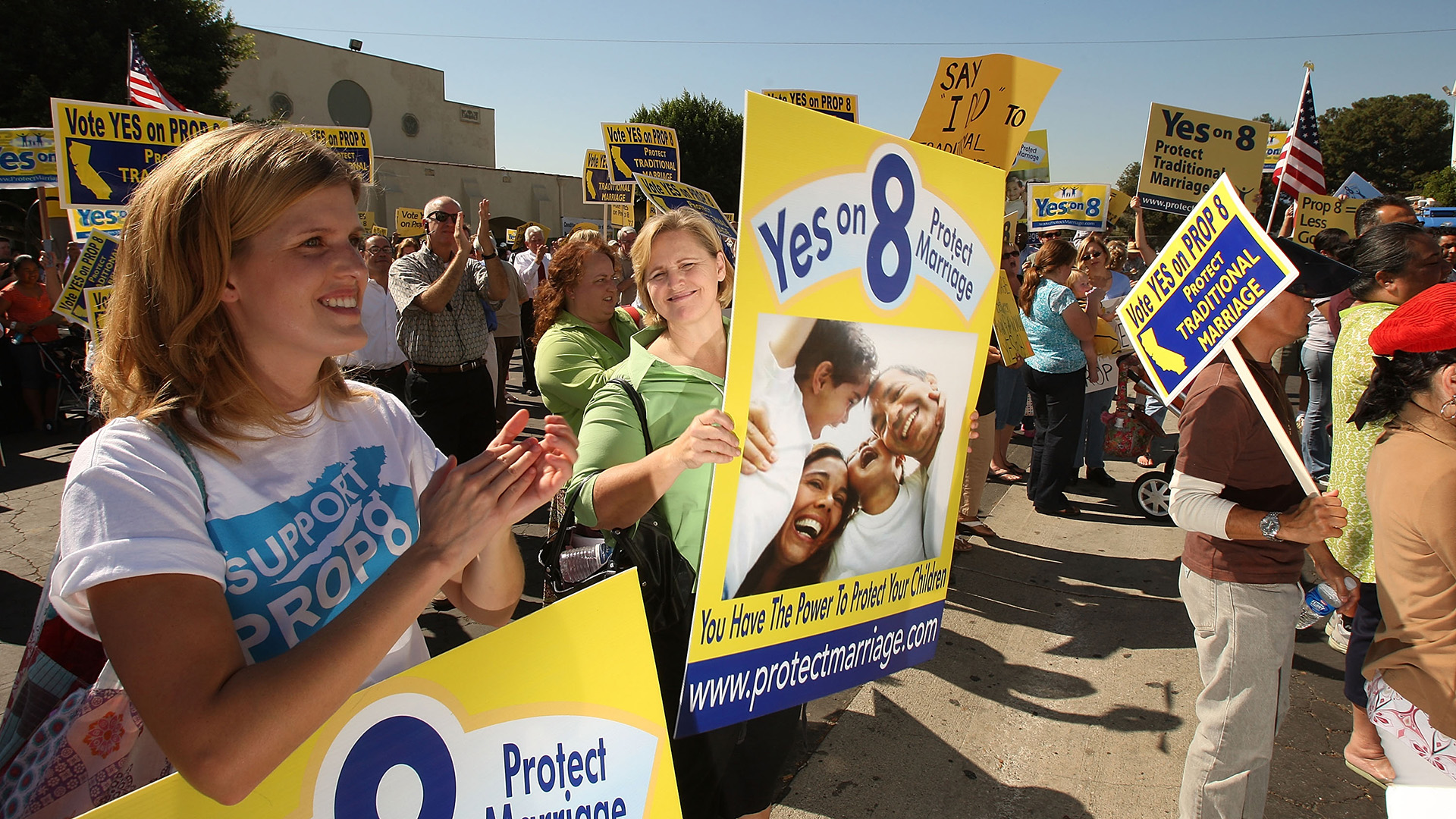 Supporters of Proposition 8 rally on October 24, 2008 in Los Angeles.