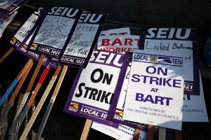 Picket signs sit in a stack outside of the Bay Area Rapid Transit (BART) Lake Merritt station on July 1, 2013 in Oakland, California. (Justin Sullivan/Getty Images)