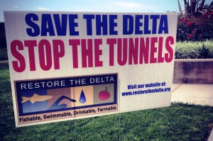 The sign at the center of the controversy (Save Our Delta)