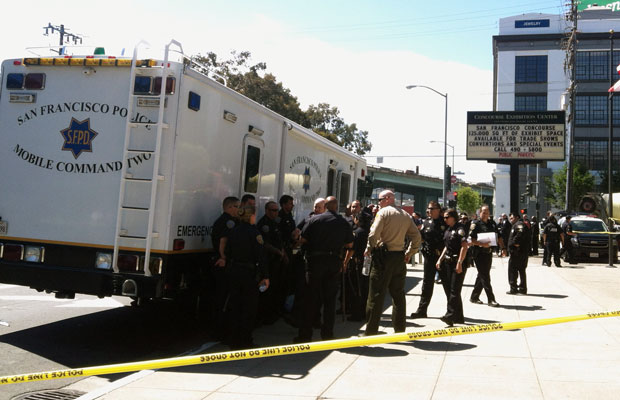 Police gathered at 8th and Brannan about an hour after the shooting. (Rachael Marcus/KQED)