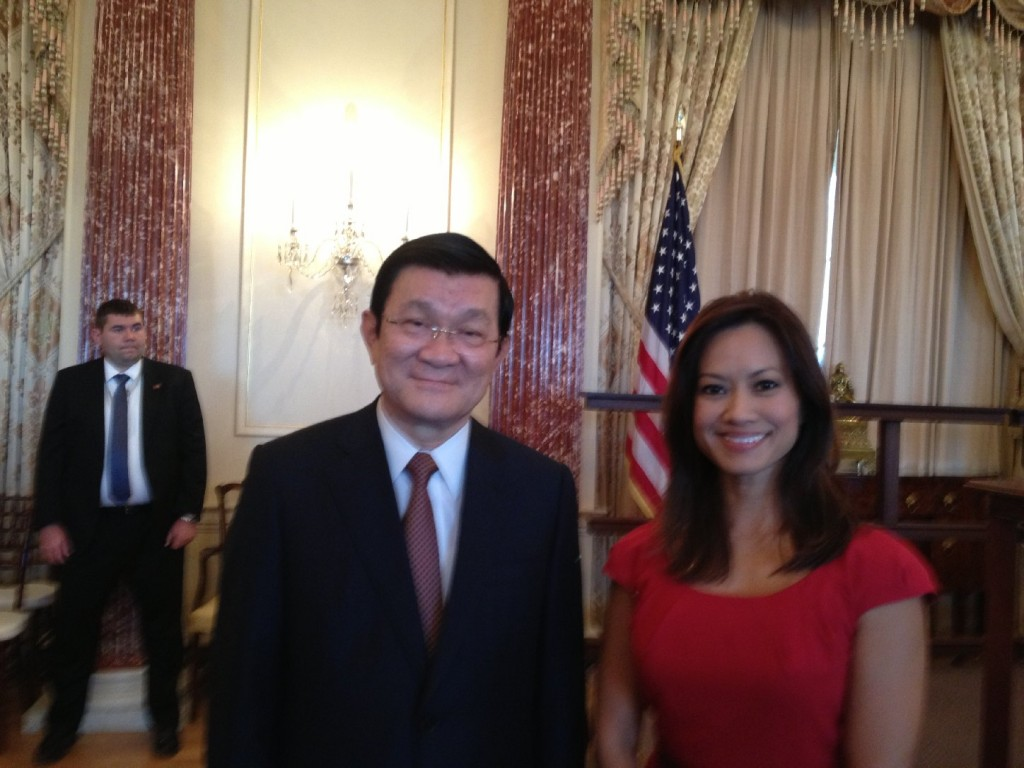 Vietnam's President Truong Tan Sang and Thuy Vu at Thursday's luncheon. (Thuy Vu/KQED)