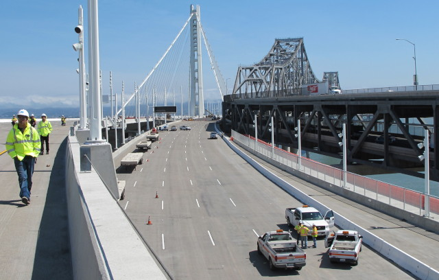 Workers on the new span of the Bay Bridge. (Andrew Stelzer/KQED)