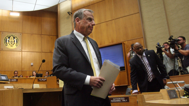San Diego mayor Bob Filner leaves the podium after announcing his mayoral resignation to the city council Friday. (Photo by Bill Wechter/Getty Images)