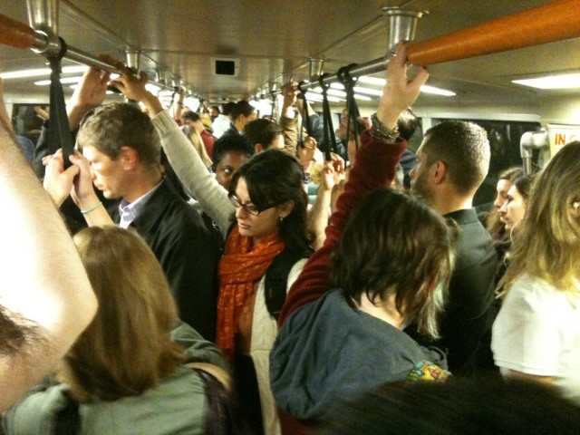 The Berkeley BART commute around 8 a.m. (Lisa Aliferis / KQED)
