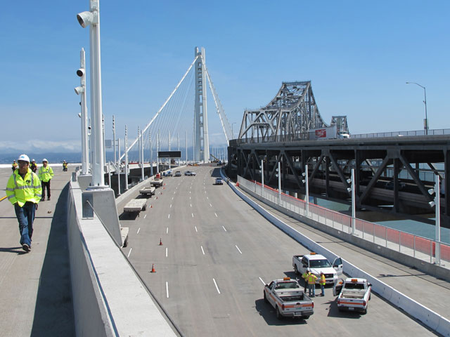 Bay Bridge's new eastern span, left, with older span, right. (Andrew Stelzer/KQED)