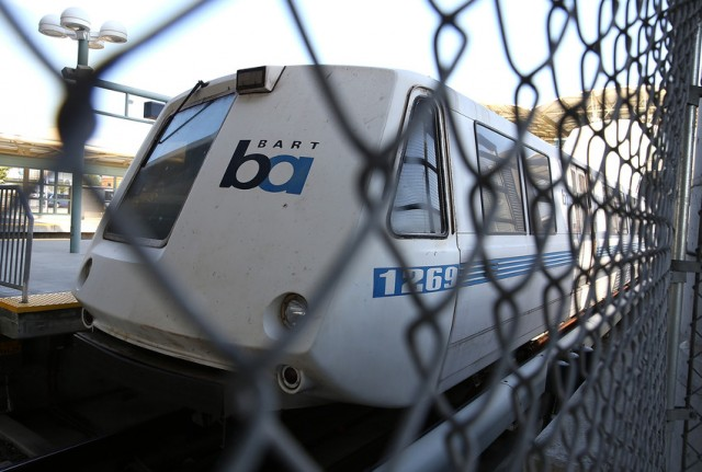 A BART train sits idle at Millbrae station on July 3, 2013 during a worker walkout. (Photo: Justin Sullivan/Getty Images)