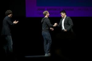 "Joe Green, Mark Zuckerberg and Jose Antonio Vargas at the Yerba Buena Center for the Arts screening of ""Documented"