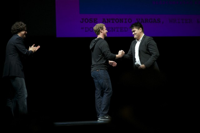 "Joe Green, Mark Zuckerberg and Jose Antonio Vargas at the Yerba Buena Center for the Arts screening of ""Documented"