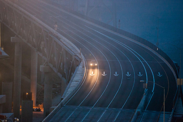 One of the last cars to cross the Bay Bridge. (Deborah Svoboda/KQED)