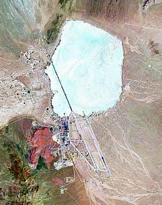 Satellite photo of Area 51 at Groom Lake, Nevada (NASA / Wikimedia Commons)