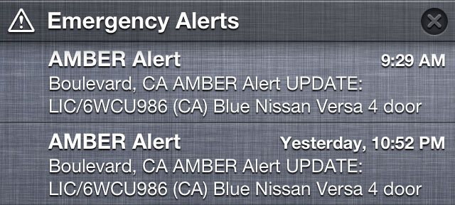 Amber Alert as it appeared on an iPhone.