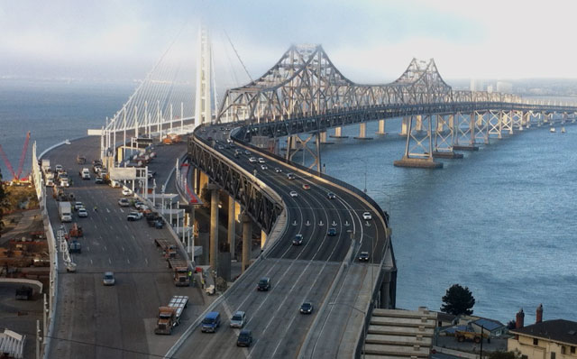 Some of the last cars on the eastern span of the Bay Bridge. (Deborah Svoboda/KQED)