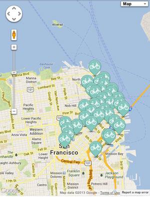 Locations of the bike kiosk's in San Francisco.