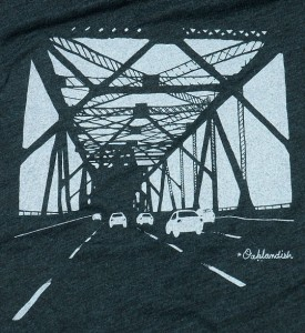 Detail of the Oakland Bridge t-shirt Carol Klammer designed for Oaklandish. (Courtesy of: Oaklandish)
