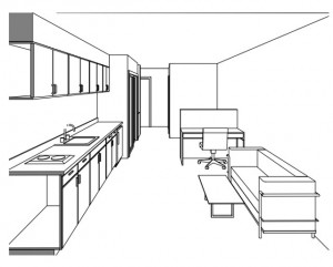 A sectional perspective into one of the two proposed unit types. Image: Lowney Architecture