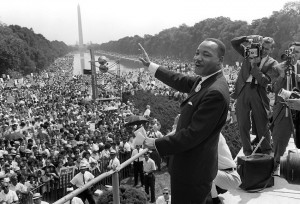 Martin Luther King Jr. waves to supporters from the steps of the Lincoln Memorial on Aug 28,1963 during the March on Washington. (AFP/Getty Images}