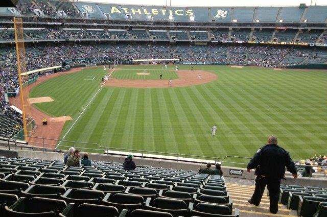 A 2013 game at the Oakland Coliseum. The A's are at the center of a court battle to force Major League Baseball to allow the team to move to San Jose. (Dan Brekke/KQED)