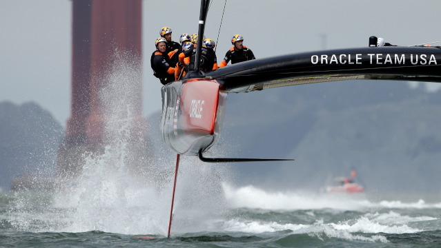 Team Luna Rossa Challenge skippered by Massimiliano Sirena with Chris Draper on the helm sails back to their base following race seven of the Louis Vuitton Cup finals against Emirates Team New Zealand skippered by Dean Barker on August 24, 2013 in San Francisco, California.  (Ezra Shaw/Getty Images)