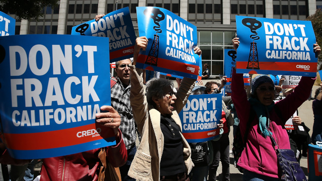 Protestors staged a demonstration against fracking in California outside of the Hiram W. Johnson State Office Building on May 30, 2013 in San Francisco. (Justin Sullivan/Getty Images)