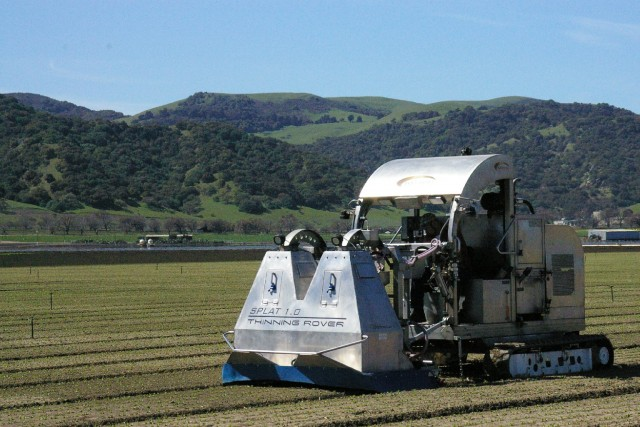 This smart tractor manages rows of lettuce, with help from a Macbook. (Foothill Packing, Inc.)