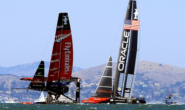 Emirates Team New Zealand and Oracle Team USA are vying for the Auld Mug. (Jamie Squire/Getty)