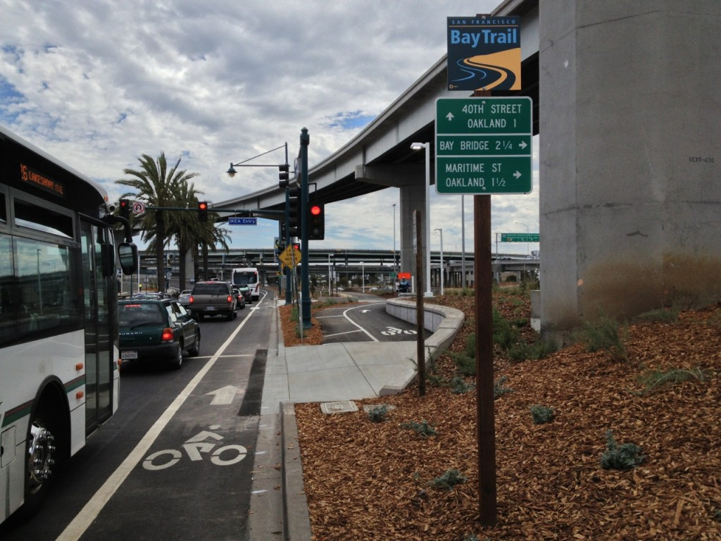 Access to the Bay Bridge Bike Trail from the west side of southbound Shellmound Street in Emeryville. (Dan Brekke/KQED)