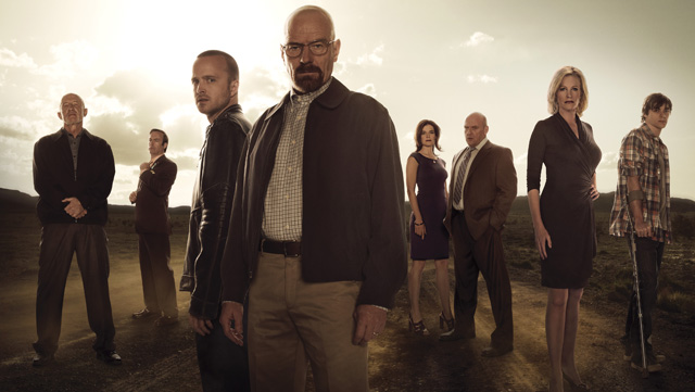 Some of the central cast members: (L-R) Mike (Jonathan Banks), Saul Goodman (Bob Odenkirk), Jesse Pinkman (Aaron Paul), Walter White (Bryan Cranston), Marie Schrader (Betsy Brandt), Hank Schrader (Dean Norris), Skyler White (Anna Gunn) and Walter White, Jr. (RJ Mitte) (Frank Ockenfels/AMC)