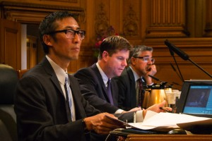 San Francisco City Supervisors Eric Mar, Mark Farrell and John Avalos at hearing on the economic impact of CCSF.
