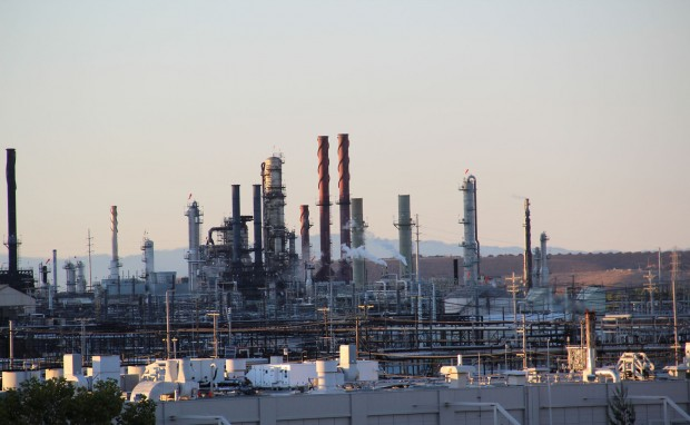 The Chevron refinery has long been a physical presence in Richmond. But this election year, more so than any time in the company's history here, Chevron has nakedly embedded itself in local politics. (Deborah Svoboda/KQED)
