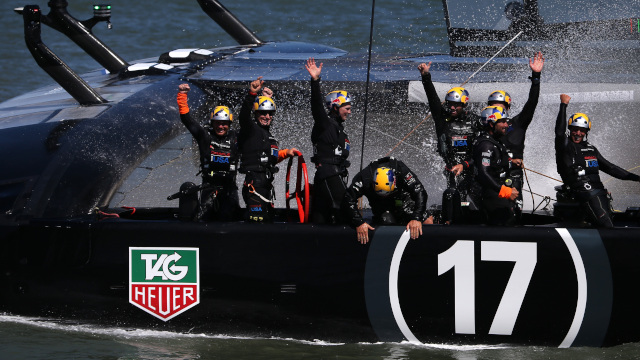 Oracle Team USA celebrates after completing its successful defense of the America's Cup up. (Justin Sullivan/Getty Images)