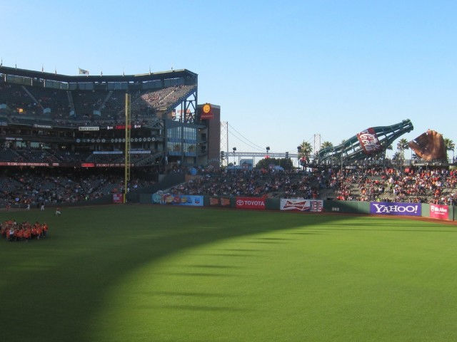 Pregame at  AT&T Park recently. (David Weir/KQED)