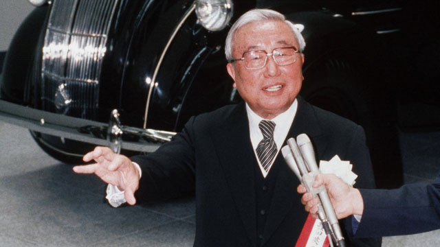 Pictured at opening of Toyota company museum in  1989. (Getty Images/AFP)
