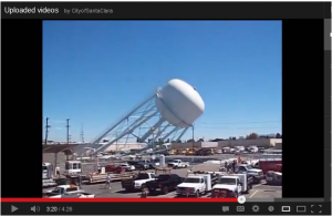 Screen capture of YouTube video showing demolition of Santa Clara's Walsh Avenue water tank.