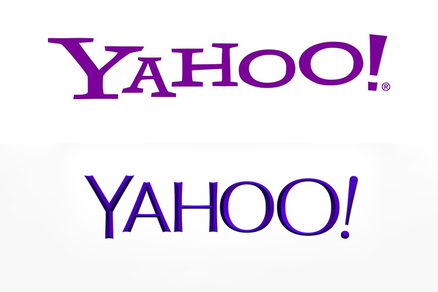 Before and after: Yahoo's old logo, top, and new logo below.