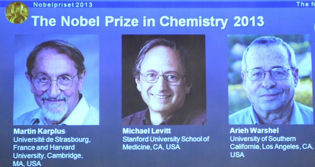 The three researchers who share the 2013 Nobel Prize in Chemistry. From left: Martin Karplus of Harvard, Michael Levitt of Stanford, and Arieh Warshel of the University of Southern California. (Getty Images)