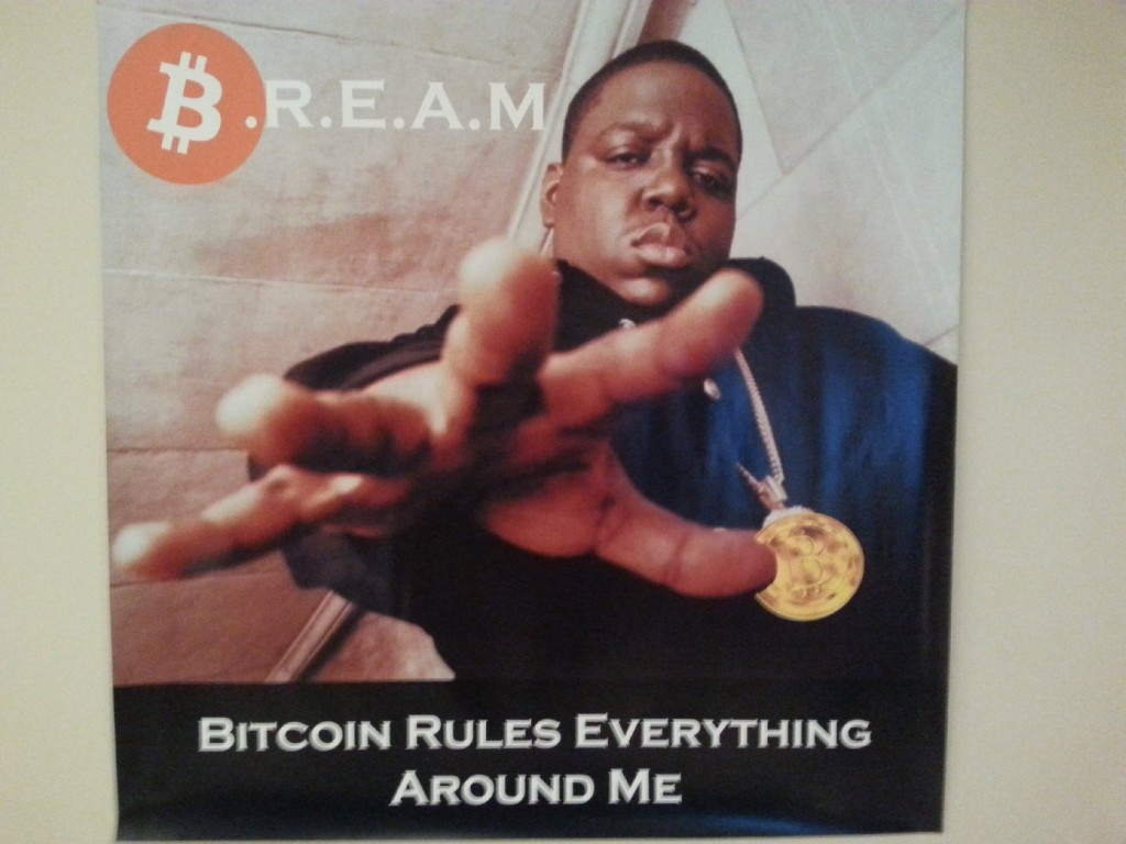 A poster of 1990s rapper Notorious B.I.G. in the office of Coinbase. Note: B.I.G. passed before the advent of Bitcoin and did not actually endorse the virtual currency (Aarti Shahani/KQED).