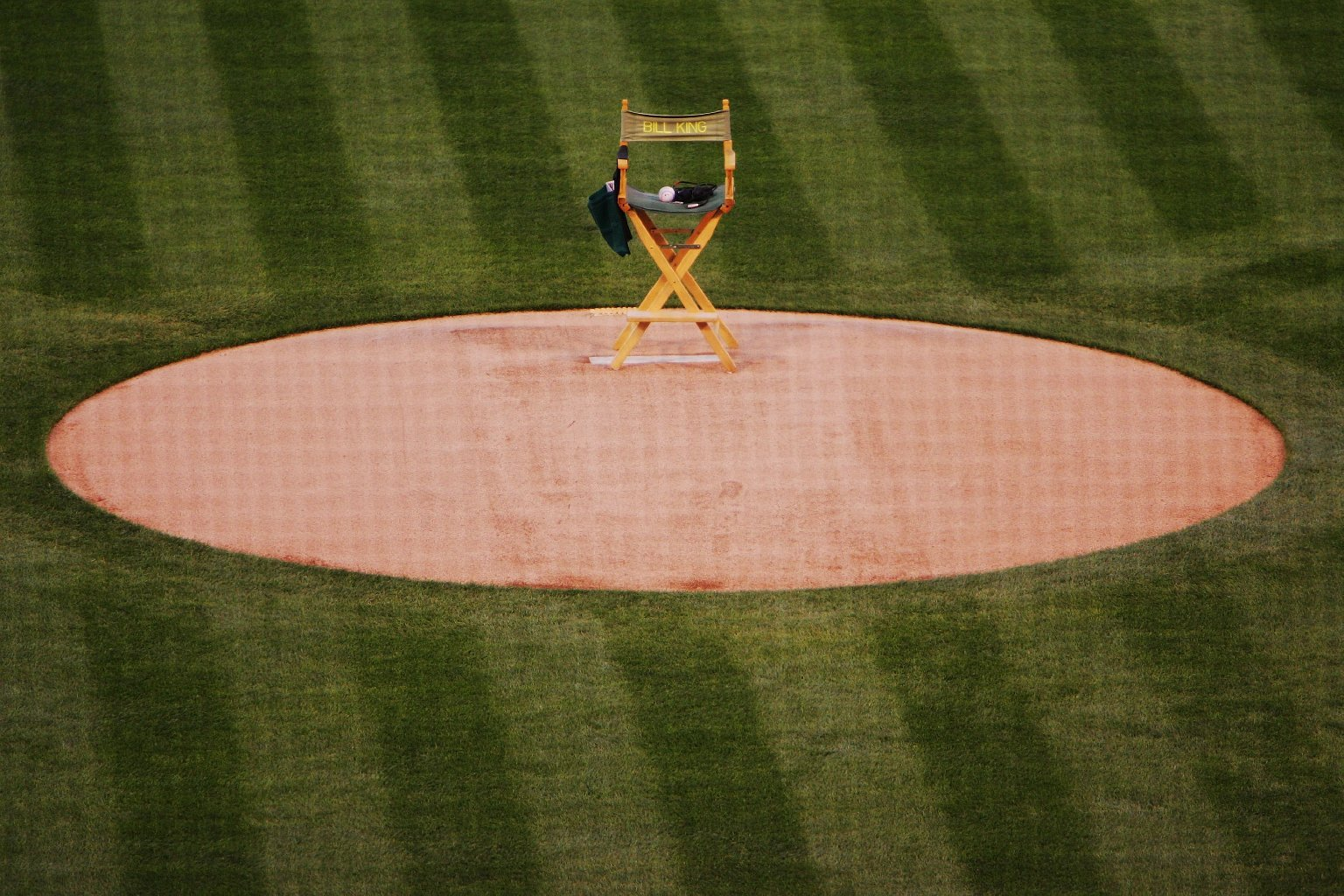 April 2006: Bill King's chair was placed on the Oakland Coliseum pitcher's mound as a tribute to the late broadcaster (Jed Jacobsohn/Getty Images).