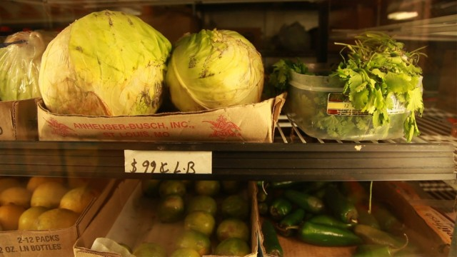 Wilted produce sits on a convenience store shelf in the small town of Raisin City. (Scott Anger/KQED)