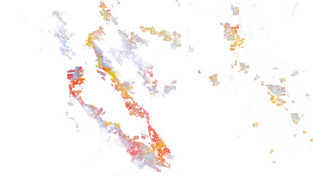A map produced by demographic researchers at the Weldon Cooper School for Public Service shows geographical distribution, population density and racial diversity in the U.S.